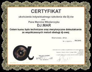 certyfikat dj